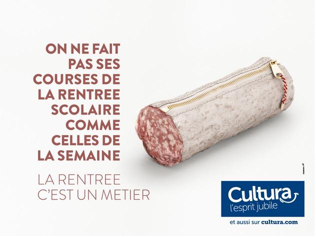 campagne décalée présentant des produits alimentaires en forme de fournitures scolaires. Cultura l'esprit jubile !
