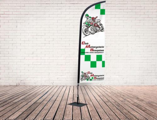 Oriflamme/ Drapeau voile CMB Club Motocycliste Beaujolais