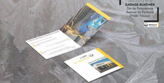 Carton d'invitation L'Art By Renault-Garage Buathier-Agence Saori