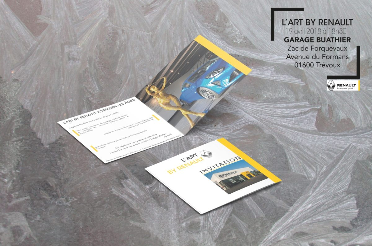 Carton d'invitation L'Art By Renault-Garage Buathier-Agence Saori