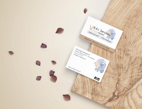 Logo et Carte de visite V.R.A.I. Services – Véronique Demoment