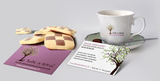 Création carte de visite et logo saori gestion administrative et commerciale la boite a tetruc
