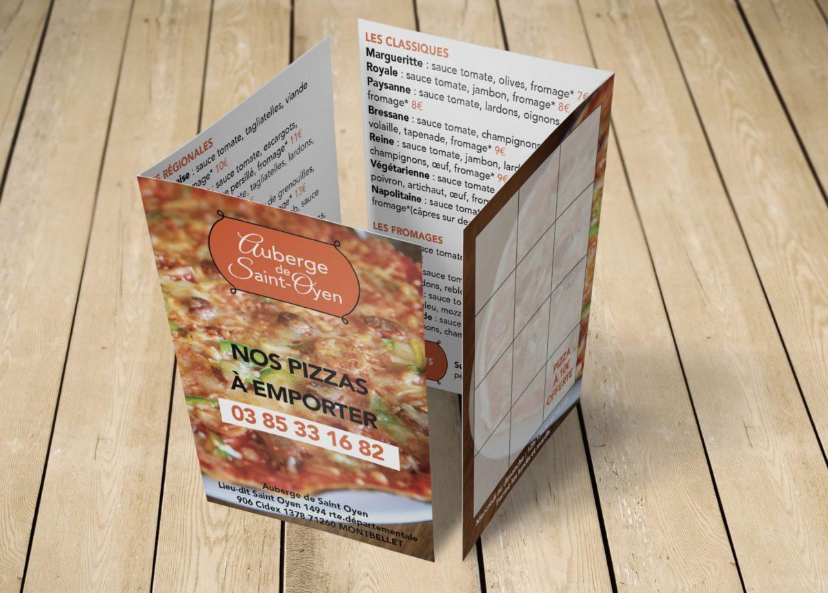 Menu pizza a emporter carte de fidélité auberge de st-oyen 71260 montbellet